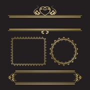 Set of decorative borders and frames for invitation or post card Stock Illustration