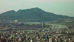 Landscape of Taipei City with skyscrapers and Keelung River. 4K Stock Footage