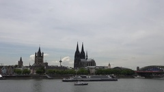 4K Panoramic view of Koln landmark famous cathedral building Hohenzollern bridge Stock Footage