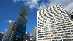 4k moving shot of skyscrapers in a city Stock Footage