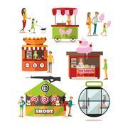 Vector set of amusement park design elements in flat style Stock Illustration