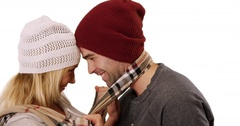 Hipster couple being affectionate on white Stock Footage
