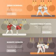 Vector set of horizontal martial arts concept banners, flat style Stock Illustration