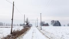 Snow covering an abandoned farm Stock Photos