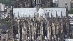 4K Aerial view Koln cathedral facade detail ornamental sculpture decoration icon Stock Footage