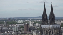 4K Beautiful aerial view of amazing Koln cathedral building Cologne landmark day Stock Footage
