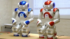 Two nao humanoid robots Stock Footage