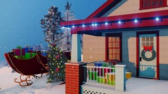 Santas house decorated for Christmas Close up 4K Stock Footage