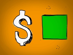 Dollar - Hand Drawn - Caucasian Hand - green screen - yellow - SD Stock Footage