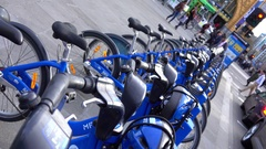 Melbourne, Bike Share in Federation Square Stock Footage