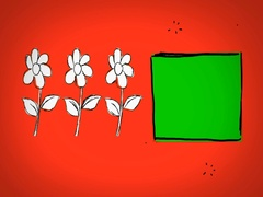 Flowers - Hand Drawn - Caucasian Hand - green screen - red - SD Stock Footage