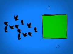 Black Birds - Hand Drawn - Caucasian Hand - green screen - blue - SD Arkistovideo