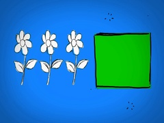 Flowers - Hand Drawn - Caucasian Hand - green screen - blue - SD Stock Footage