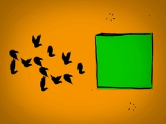 Black Birds - Hand Drawn - Caucasian Hand - green screen - yellow - SD Stock Footage