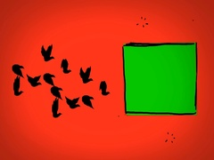 Black Birds - Hand Drawn - Caucasian Hand - green screen - red - SD Stock Footage