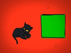 Black Cat - Hand Drawn - Caucasian Hand - green screen - red - SD Arkistovideo