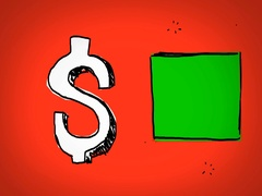 Dollar - Hand Drawn - Caucasian Hand - green screen - red - SD Stock Footage