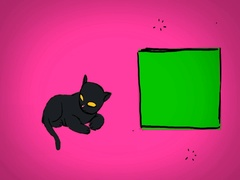 Black Cat - Hand Drawn - Caucasian Hand - green screen - pink - SD Arkistovideo