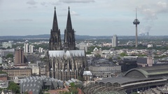 4K Beautiful Koln skyline tourism attraction symbol famous cathedral dome tower Stock Footage