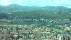Mountains landscape of Taipei with buildings around. 4K Stock Footage