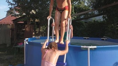 Funny kids out of the pool  Stock Footage
