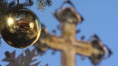 Christmas decoration, christian cross Stock Footage