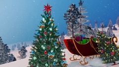 Santa's sleigh and decorated Christmas tree 4K Stock Footage