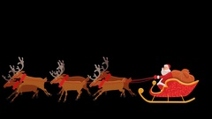 Santa Riding On Reindeer Sled with Alpha Transparency Arkistovideo