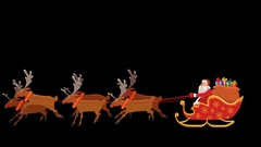 Cartoon Santa Riding On Reindeer Sled  Animation with Alpha Сhannel Stock Footage