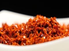 Chilli powder on a dish Stock Footage