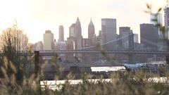 New York City's Manhattan Bridge at sunset Stock Footage