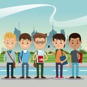 Group students boys back school urban background Stock Illustration