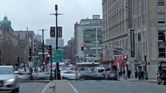 Downtown Boston Pedestrian & Traffic Timelapse 04 HQ Stock Footage