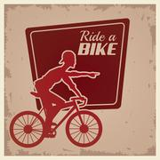 Poster vintage ride a bike cyclist silhouette Stock Illustration