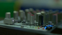 Audio settings on the remote in the studio Stock Footage