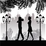 Silhouette man radio and woman walking park twon background Stock Illustration