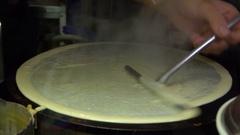 Street Food, Preparing  Crepe, Chocolate and Banana Stock Footage