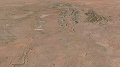 Glide over Macdonnell mountain range - masks. Satellite imagery Stock Footage