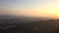 Sunset in Taipei City with the famous Taipei 101, 4K Stock Footage