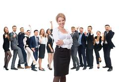Happy successful business team isolated on white background Stock Photos