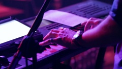 Man Playing On a Synthesizer Stock Footage