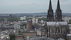 4K Tilt down beautiful Koln cathedral building Cologne symbol church dome emblem Stock Footage