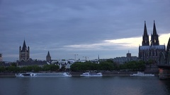 4K Pan left Koln cityscape at twilight beautiful skyline with tourism attraction Stock Footage