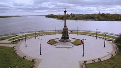 Panoramic view of the main attractions of Yaroslavl Stock Footage