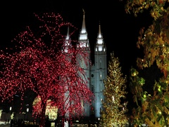 Salt Lake City Temple night Christmas lights trees DCI 4K Stock Footage