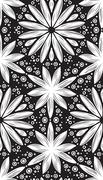 Abstract geometric seamless pattern with hand drow flowers Stock Illustration