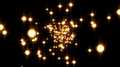 Gold Disco Particles Glow Burst VJ Motion Background Loop Stock Footage