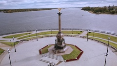 Top view of the monument to the 1000 anniversary of Yaroslavl Stock Footage
