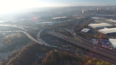 Aerial view of sunrise at Spaghetti Junction in Birmingham, UK. Stock Footage