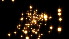 Gold Disco Particles Glow Burst VJ Motion Background Loop Rotate Right Stock Footage